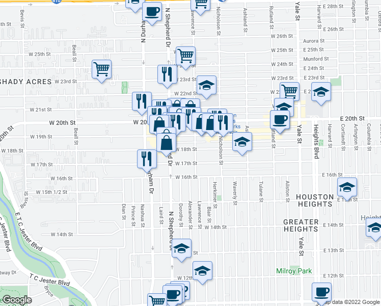 map of restaurants, bars, coffee shops, grocery stores, and more near 610 West 18th Street in Houston