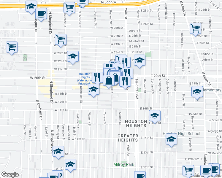 map of restaurants, bars, coffee shops, grocery stores, and more near 1815 Rutland St in Houston