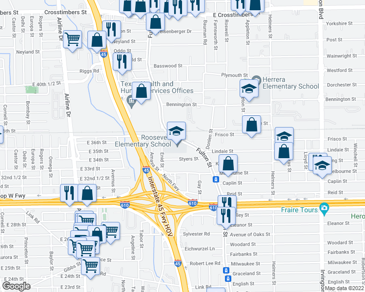map of restaurants, bars, coffee shops, grocery stores, and more near 6677-6713 Fulton St in Houston