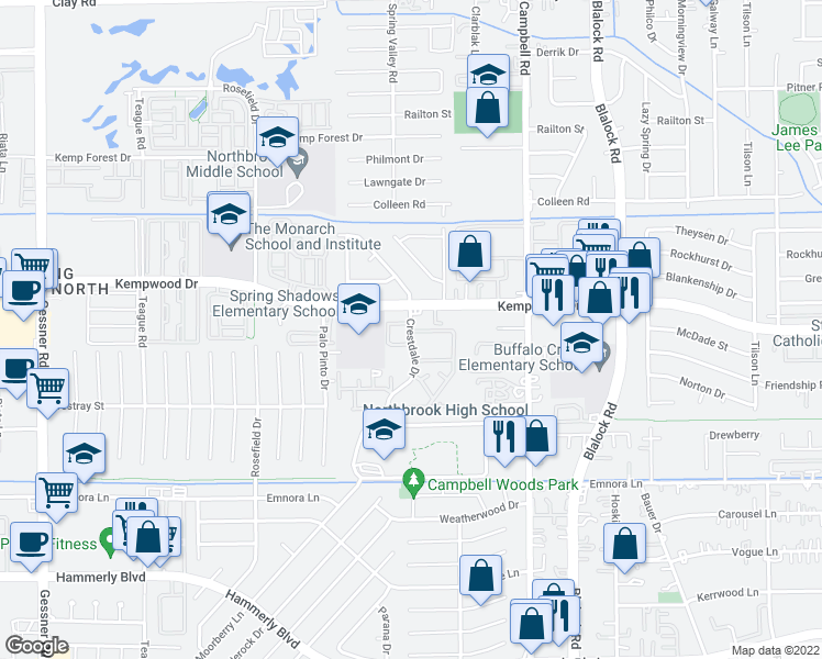 map of restaurants, bars, coffee shops, grocery stores, and more near 9607 Kempwood Drive in Houston
