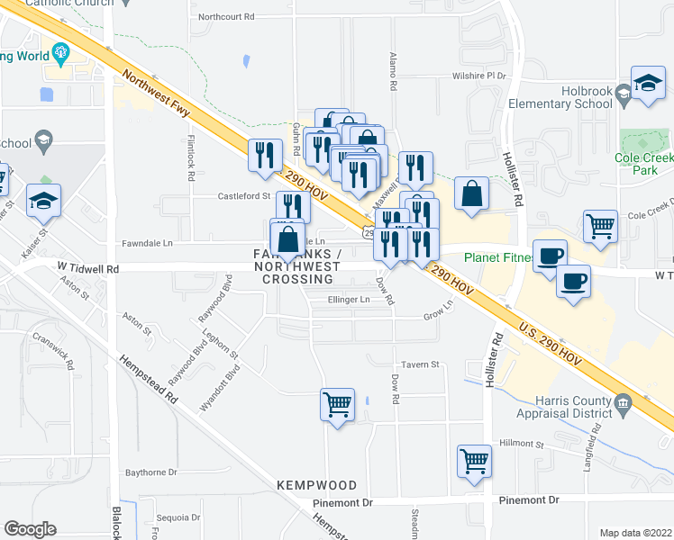 map of restaurants, bars, coffee shops, grocery stores, and more near 13525 Dow Road in Houston