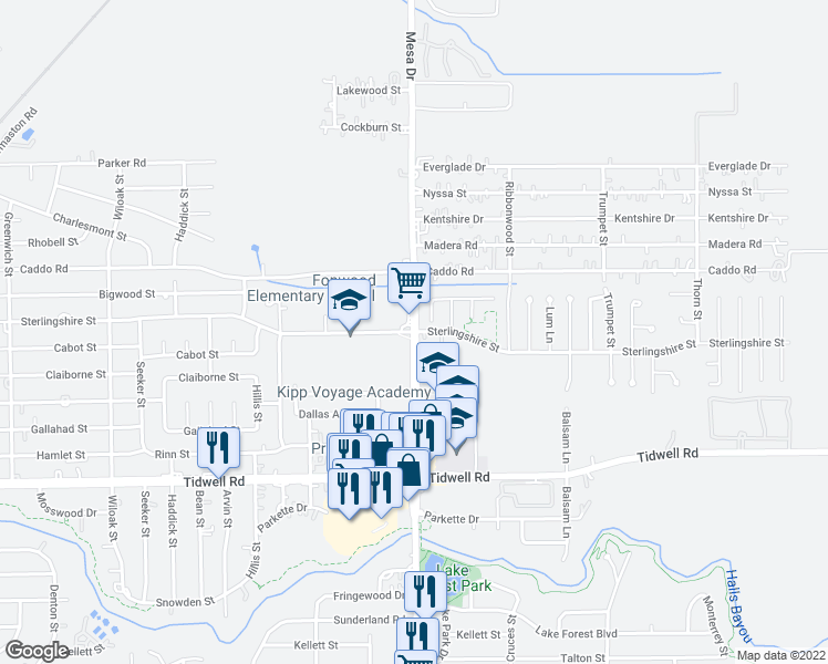 map of restaurants, bars, coffee shops, grocery stores, and more near Mesa Dr & Sterlingshire St in Houston