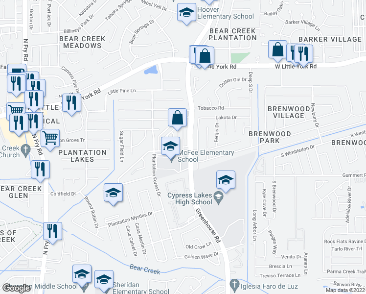map of restaurants, bars, coffee shops, grocery stores, and more near Greenhouse Rd in Katy