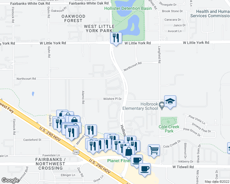 map of restaurants, bars, coffee shops, grocery stores, and more near 23700-29784 Wilshire Place Drive in Houston