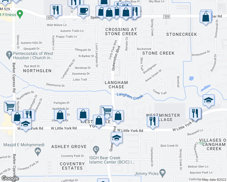 map of restaurants, bars, coffee shops, grocery stores, and more near 6488-6498 Queenston Blvd in Houston