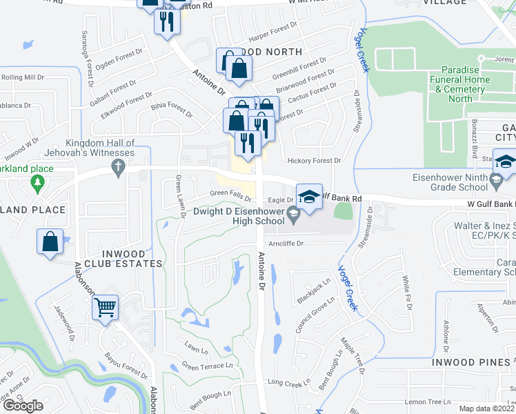 map of restaurants, bars, coffee shops, grocery stores, and more near Antoine Dr in Houston
