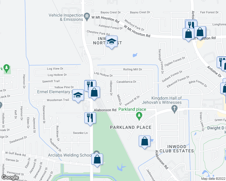 map of restaurants, bars, coffee shops, grocery stores, and more near 10010 Hibernia Dr in Houston
