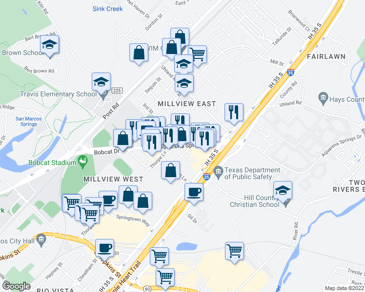 map of restaurants, bars, coffee shops, grocery stores, and more near 1504 Aquarena Springs Drive in San Marcos