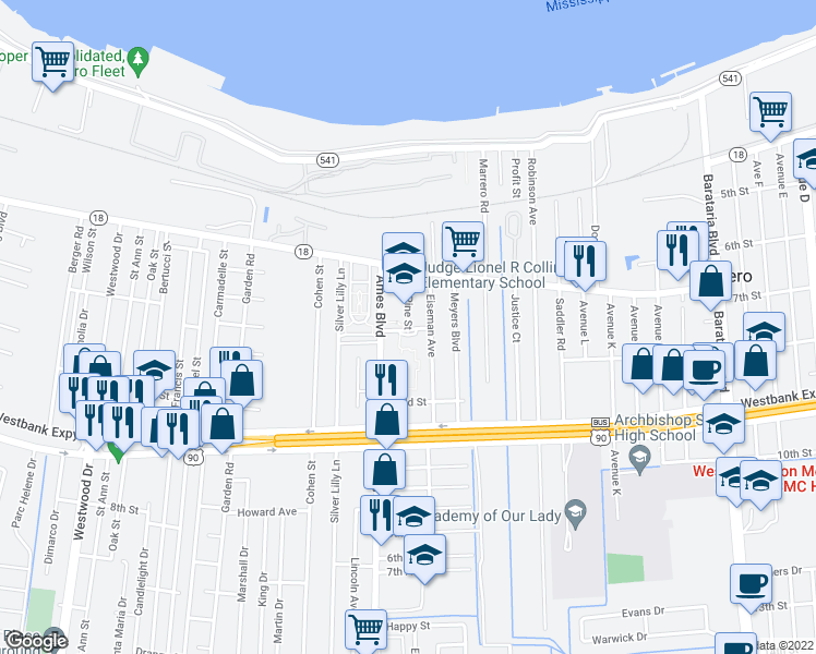 map of restaurants, bars, coffee shops, grocery stores, and more near 401-639 Pine St in Marrero