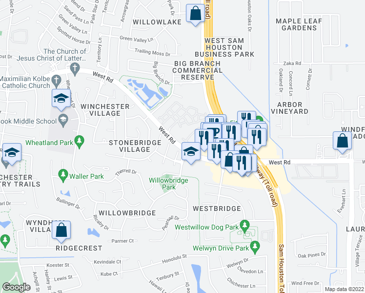 map of restaurants, bars, coffee shops, grocery stores, and more near 9201 Willowbridge Park Blvd in Houston