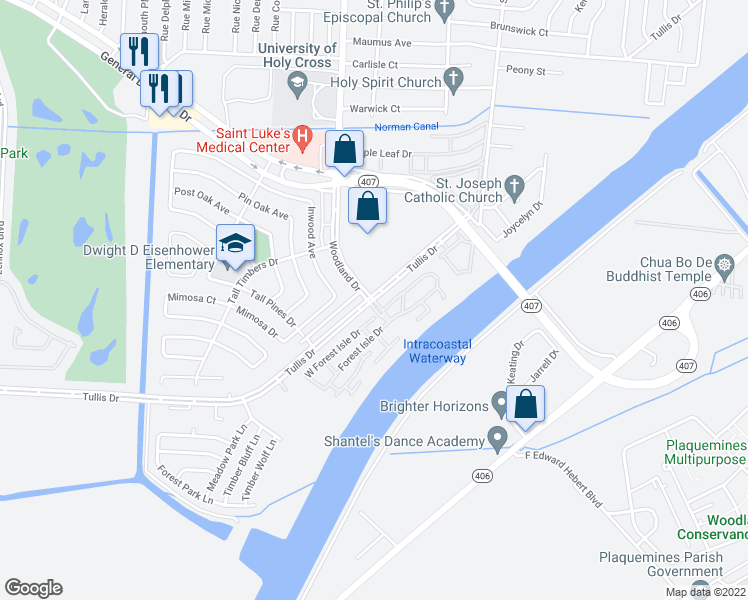 map of restaurants, bars, coffee shops, grocery stores, and more near 5000 Woodland Drive in New Orleans