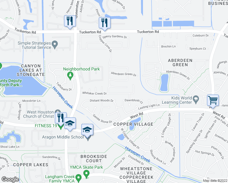 map of restaurants, bars, coffee shops, grocery stores, and more near 16615 Whitaker Creek Drive in Houston