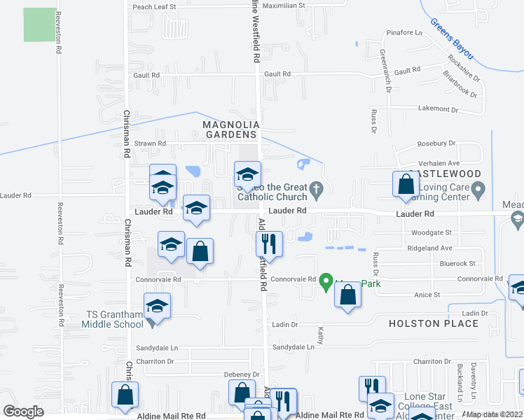 map of restaurants, bars, coffee shops, grocery stores, and more near 2010 Lauder Rd in Houston