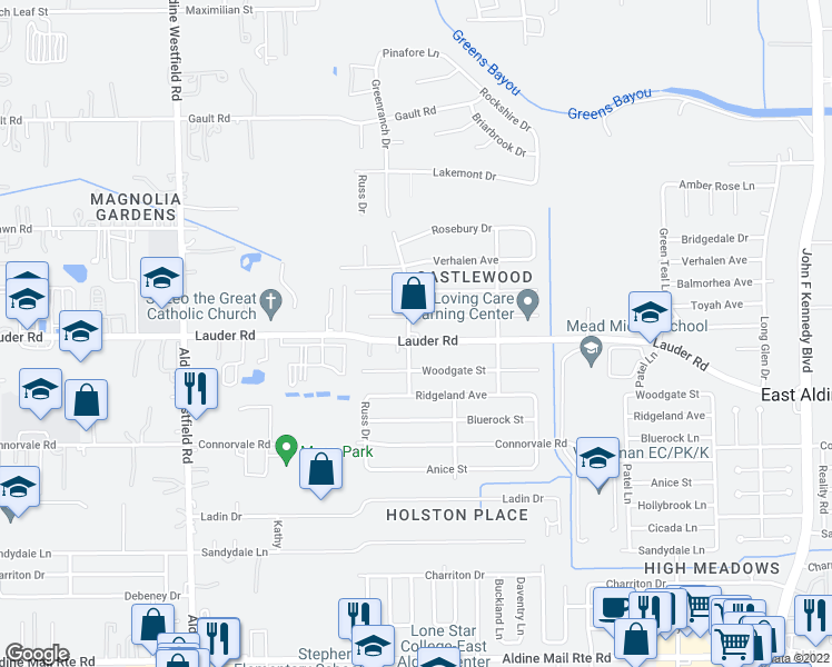 map of restaurants, bars, coffee shops, grocery stores, and more near 2501 Lauder Rd in Houston