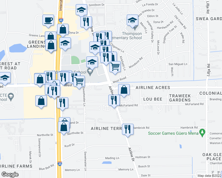 map of restaurants, bars, coffee shops, grocery stores, and more near Airline Dr & Hollyvale Dr in Aldine
