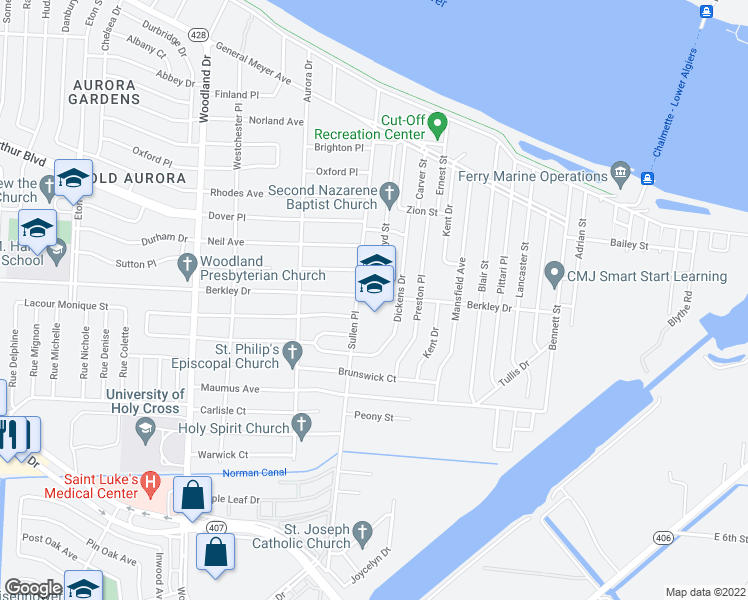 map of restaurants, bars, coffee shops, grocery stores, and more near 6401-6499 Berkley Drive in New Orleans