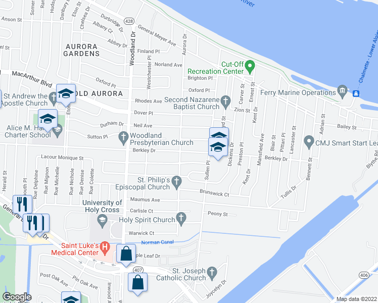 map of restaurants, bars, coffee shops, grocery stores, and more near 301 Berkley Drive in New Orleans