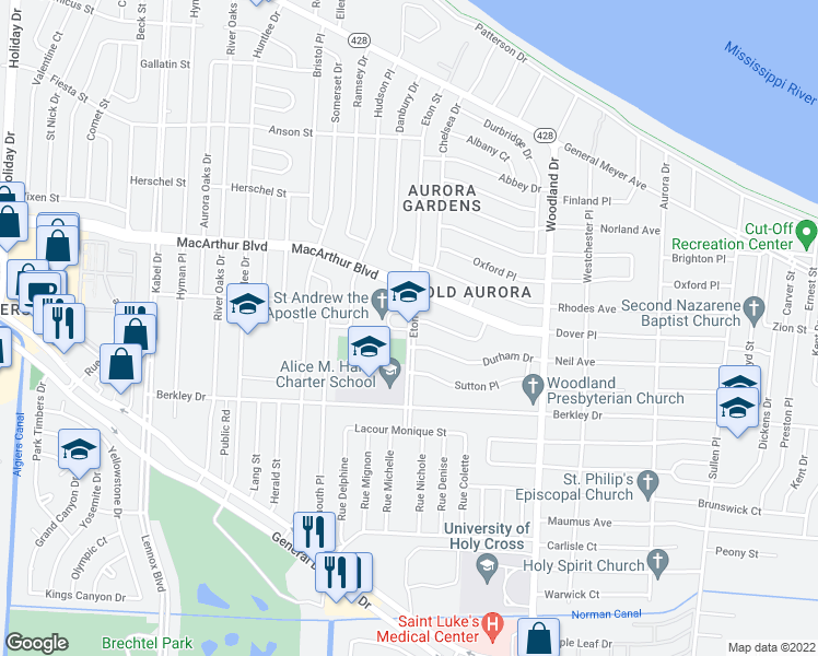 map of restaurants, bars, coffee shops, grocery stores, and more near 3233-3299 Eton Street in New Orleans