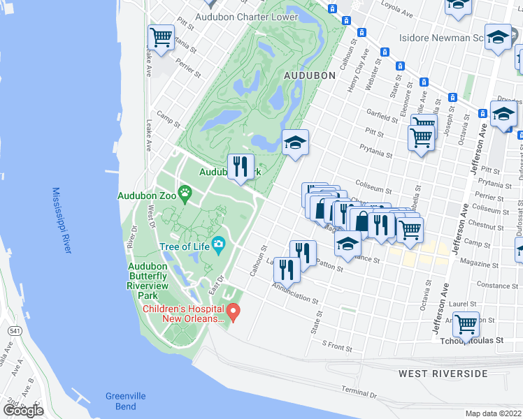 map of restaurants, bars, coffee shops, grocery stores, and more near in New Orleans