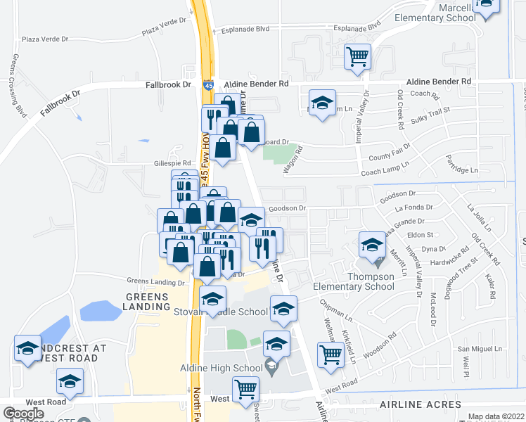map of restaurants, bars, coffee shops, grocery stores, and more near 11715 Airline Dr in Houston