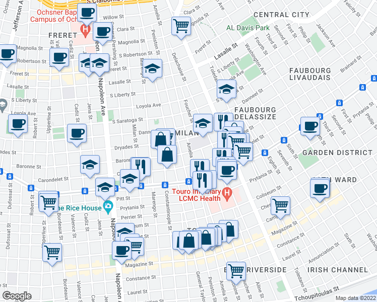 map of restaurants, bars, coffee shops, grocery stores, and more near 3701 Baronne Street in New Orleans