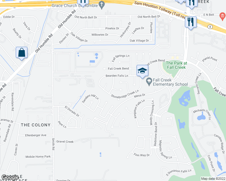 map of restaurants, bars, coffee shops, grocery stores, and more near 7310 Crescent Bridge Ct in Humble