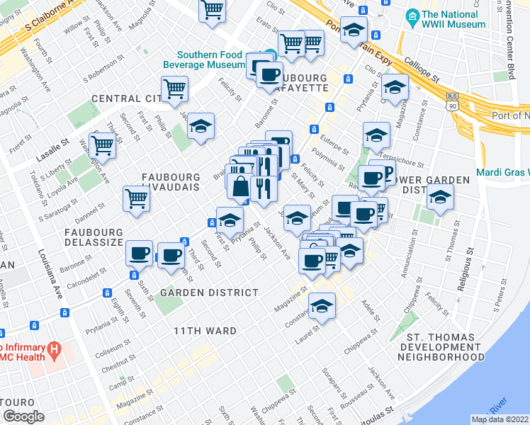map of restaurants, bars, coffee shops, grocery stores, and more near 2127 Prytania Street in New Orleans