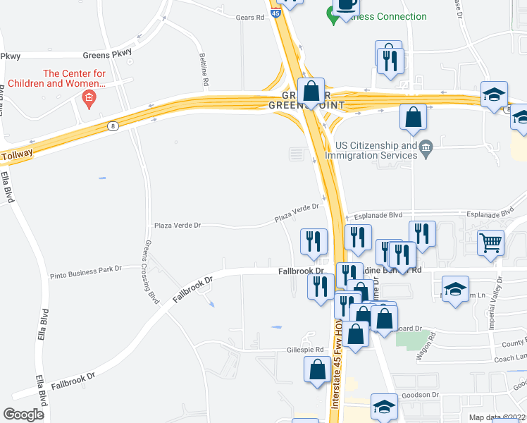 map of restaurants, bars, coffee shops, grocery stores, and more near 206 Plaza Verde Drive in Houston