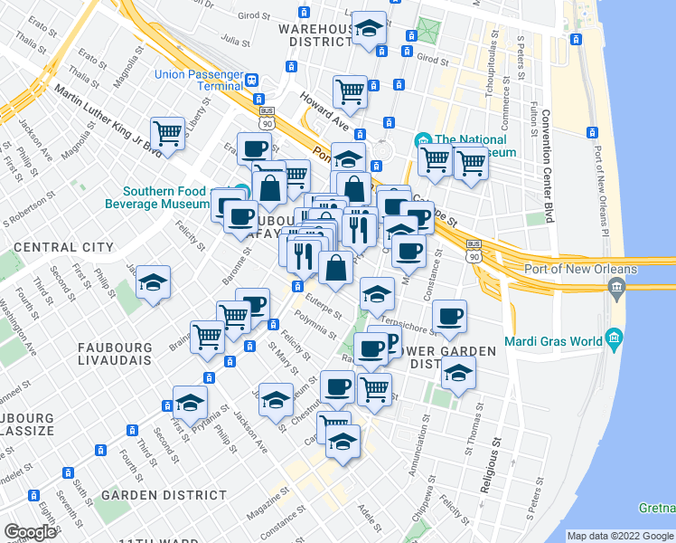 map of restaurants, bars, coffee shops, grocery stores, and more near 1520 Melpomene Street in New Orleans
