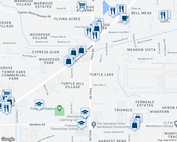 map of restaurants, bars, coffee shops, grocery stores, and more near 9506 Turtle Log Trail in Houston