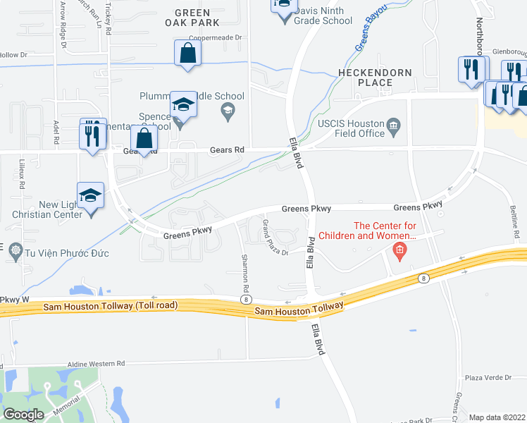 map of restaurants, bars, coffee shops, grocery stores, and more near 1000-1046 Greens Parkway in Houston