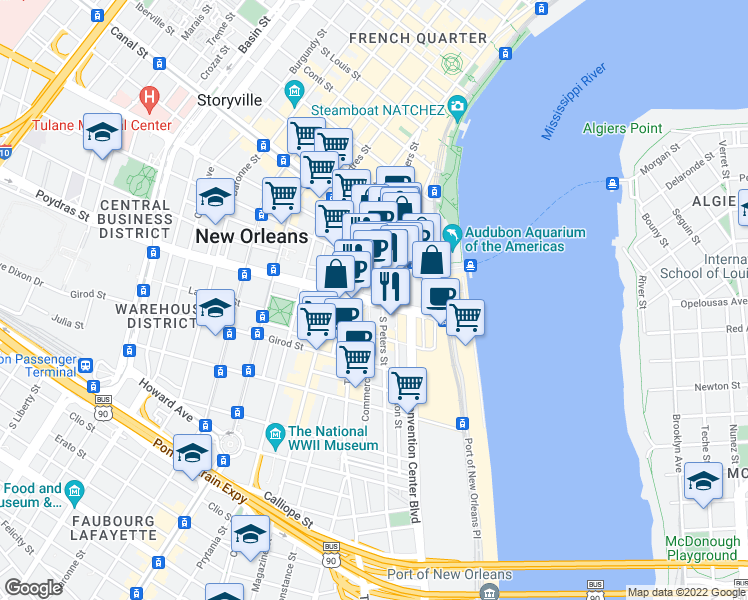 map of restaurants, bars, coffee shops, grocery stores, and more near 300-392 Natchez Street in New Orleans