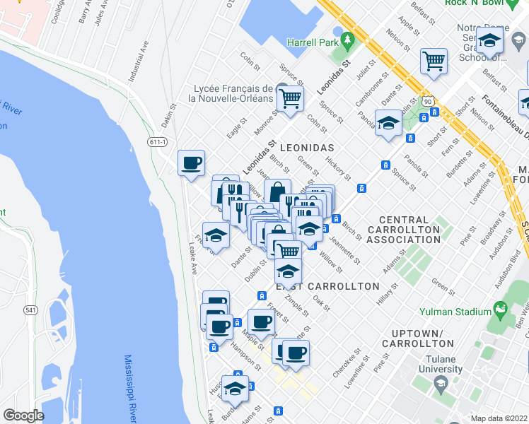 map of restaurants, bars, coffee shops, grocery stores, and more near 1321 Cambronne Street in New Orleans