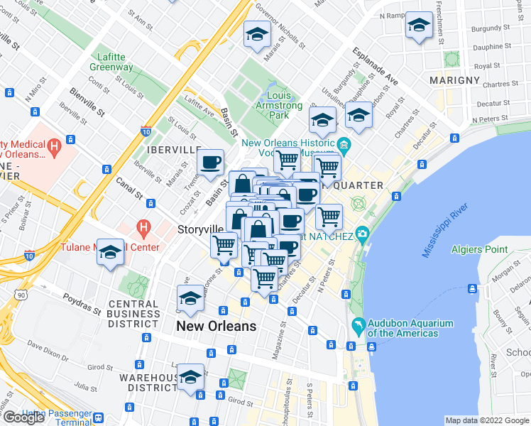 map of restaurants, bars, coffee shops, grocery stores, and more near 301 Dauphine Street in New Orleans