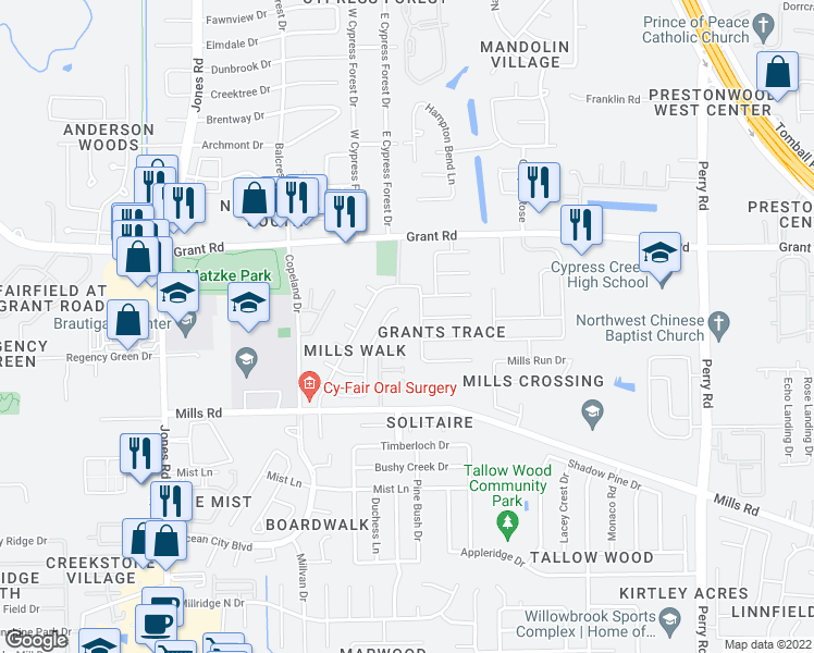 map of restaurants, bars, coffee shops, grocery stores, and more near 10503 Mills Cove St in Houston