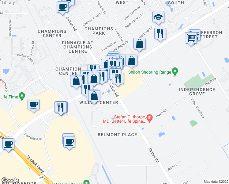 map of restaurants, bars, coffee shops, grocery stores, and more near Cutten Rd in Houston