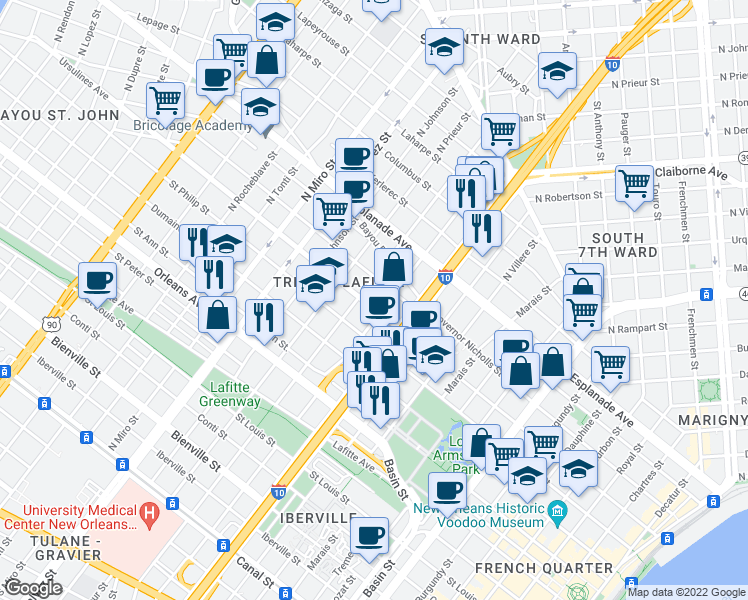 map of restaurants, bars, coffee shops, grocery stores, and more near 1833 Ursulines Ave in New Orleans
