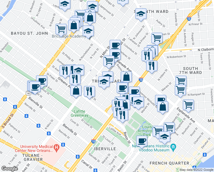 map of restaurants, bars, coffee shops, grocery stores, and more near 1006 N Prieur St in New Orleans