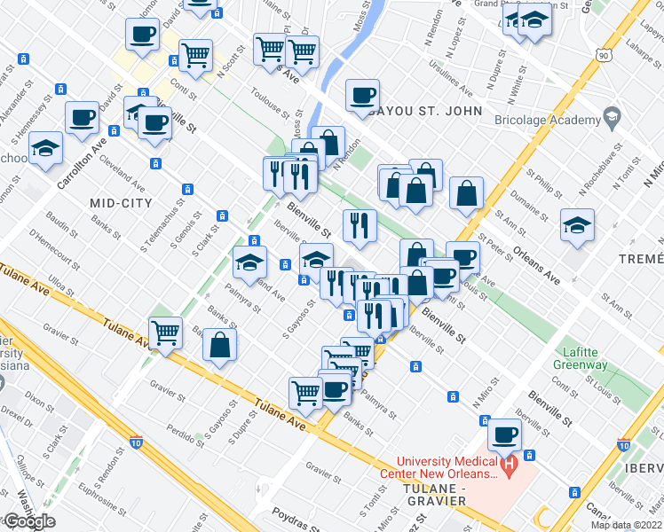 map of restaurants, bars, coffee shops, grocery stores, and more near 105-199 North Gayoso Street in New Orleans