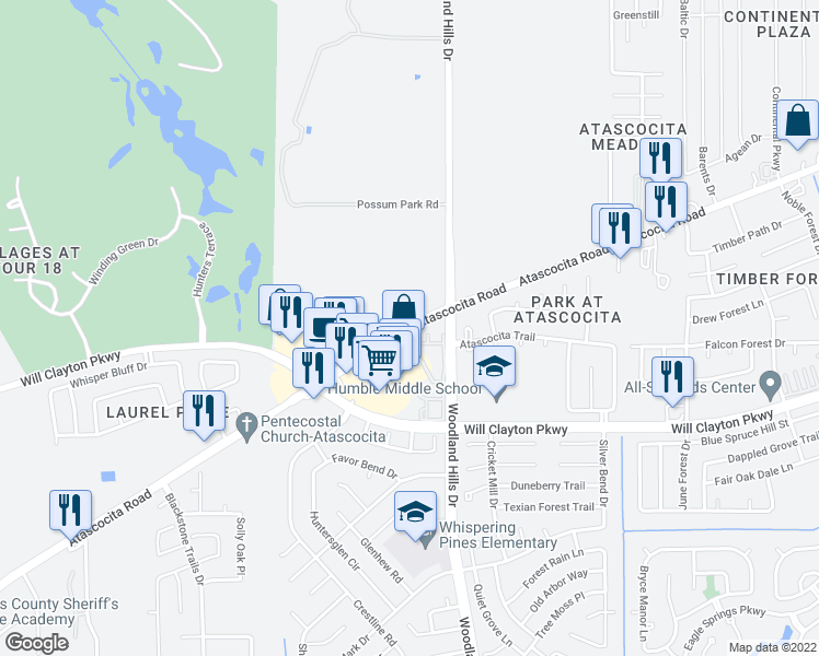 map of restaurants, bars, coffee shops, grocery stores, and more near 3842 Atascocita Road in Humble