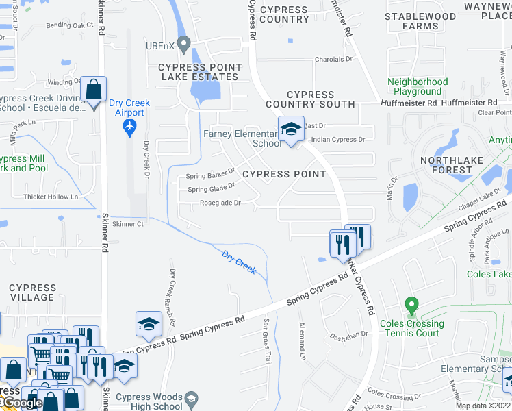 map of restaurants, bars, coffee shops, grocery stores, and more near 12500 Spring Barker Dr in Cypress
