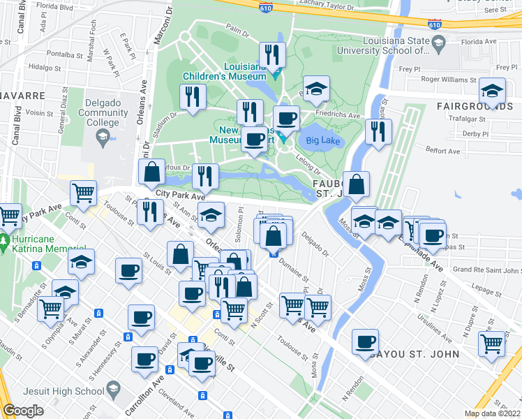 map of restaurants, bars, coffee shops, grocery stores, and more near 1101-1127 City Park Ave in New Orleans