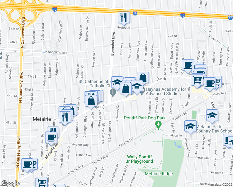 map of restaurants, bars, coffee shops, grocery stores, and more near 1701 Metairie Road in Metairie