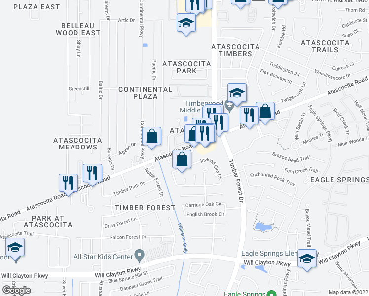 map of restaurants, bars, coffee shops, grocery stores, and more near 4849-5003 Atascocita Road in Atascocita
