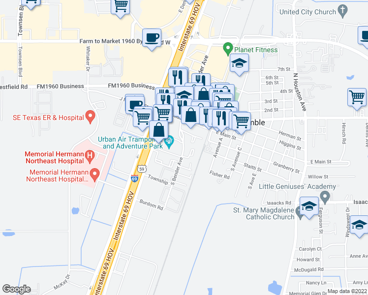 map of restaurants, bars, coffee shops, grocery stores, and more near 396-464 South Bender Avenue in Humble