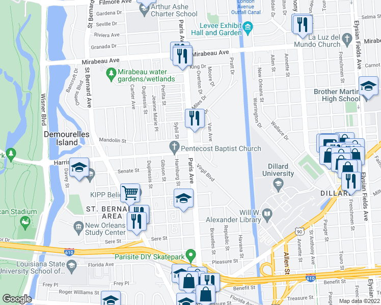 map of restaurants, bars, coffee shops, grocery stores, and more near Paris Ave & Harrison Ave in New Orleans