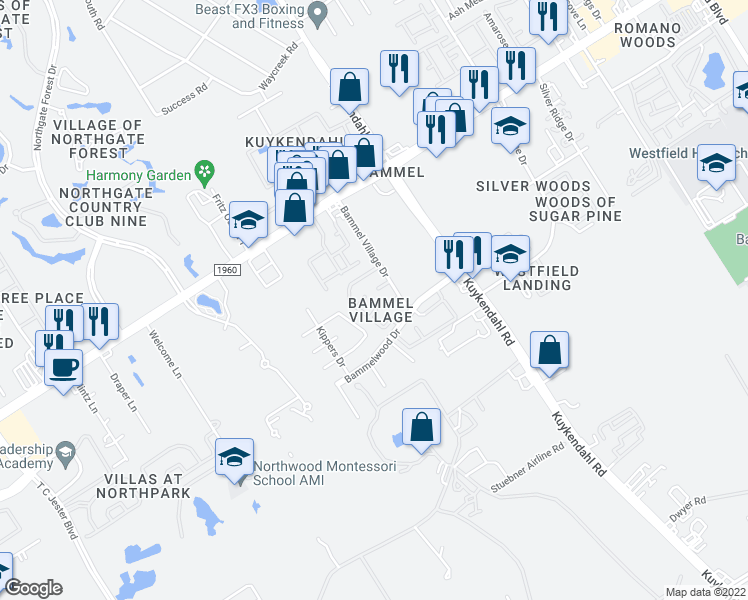 map of restaurants, bars, coffee shops, grocery stores, and more near 2402 Bammelwood Drive in Houston