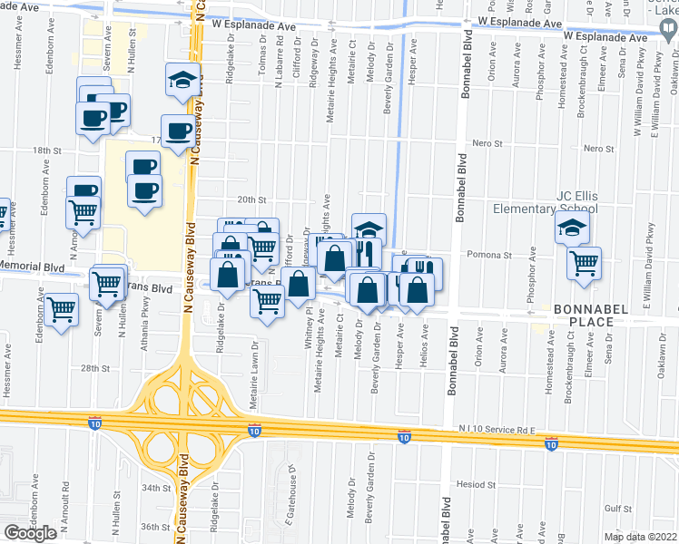 map of restaurants, bars, coffee shops, grocery stores, and more near 2912 Metairie Ct in Metairie