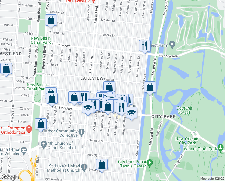 map of restaurants, bars, coffee shops, grocery stores, and more near 6429 General Diaz St in New Orleans
