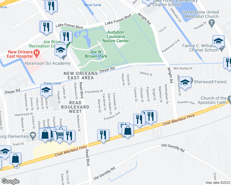 map of restaurants, bars, coffee shops, grocery stores, and more near 4875 Coronado Drive in New Orleans